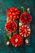 strawberry tartlets  on green background - 209220660