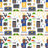 Hip hop man accessory musician vector accessories microphone breakdance expressive rap modern young fashion person seamless pattern background people illustration. - 209223440
