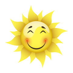 smiling yellow sun on a white background