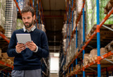 Manager of warehouse holding digital tablet - 209230463