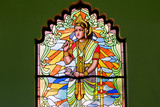 Stained glass is a beautiful Hindu god image.