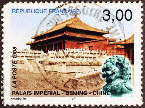 Fotobehang Peking Imperial palace of Beijing on french postage stamp