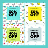 Summer sale. Set of social media banners. Vector illustrations for website and mobile website banners, email and newsletter designs, ads, marketing material. - 209235213