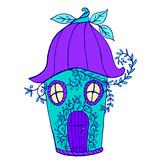 Fairy house bellflower, children s color book.