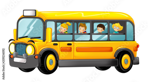 funny looking cartoon yellow school bus with kids - illustration for children - 209236092