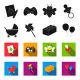 Stroller, windmill, lego, balloons.Toys set collection icons in black,flet style vector symbol stock illustration web. - 209238086