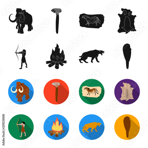 Man, hunter, onion, bonfire .Stone age set collection icons in black,flet style vector symbol stock illustration web.