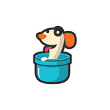 Cute Funny Dog Cartoon in Bucket Illustration