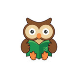 Cute Smart Owl Holding a Book Study