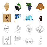 Greece, running, wine, flag .Greece set collection icons in cartoon,outline style vector symbol stock illustration web.