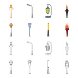 Lamppost in retro style, modern lantern, torch and other types of streetlights. Lamppost set collection icons in cartoon,outline style vector symbol stock illustration web. - 209239069