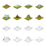 Mountains, rocks and landscape. Relief and mountains set collection icons in cartoon,outline style isometric vector symbol stock illustration web. - 209239490