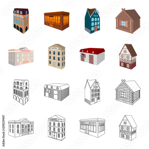 Budynek muzeum, trzypiętrowy hotel, stajnia na torze wyścigowym, dom mieszkalny. Architektoniczne i budynek ustalone inkasowe ikony w kreskówce, konturu stylu symbolu zapasu wektorowa ilustracja