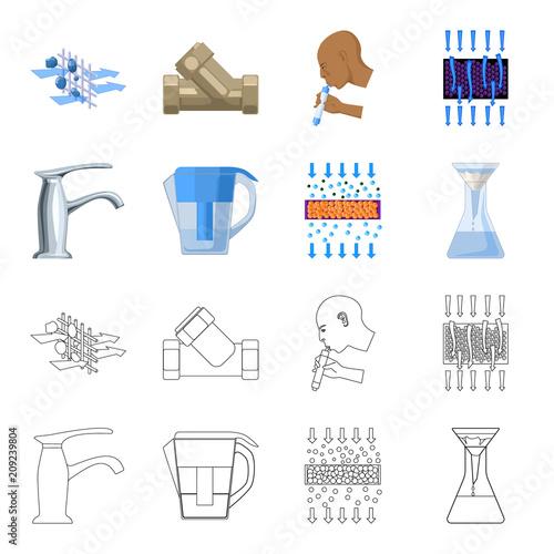 Mężczyzna, łysy, głowa, ręka. Woda filtraci systemu ustalone inkasowe ikony w kreskówce, konturu stylu symbolu zapasu ilustraci wektorowa sieć.