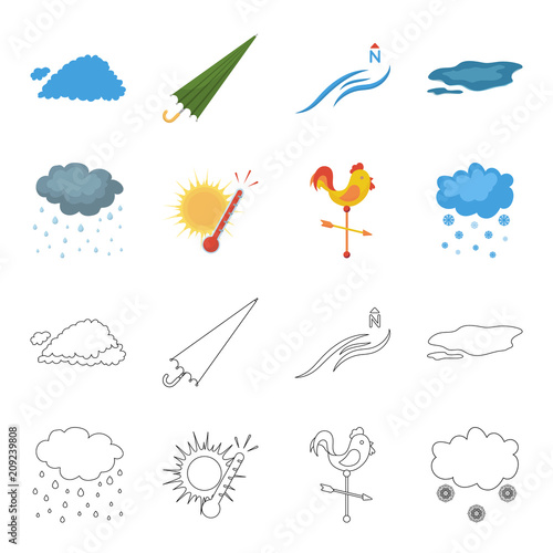 Rain, snow, heat, weathervane. The weather set collection icons in cartoon,outline style vector symbol stock illustration web.