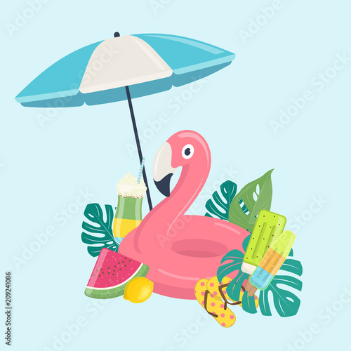 Summer beach template with pink flamingo inflatable pool float, exotic leaves, fruits and beach umbrella. Summer beach vacations concept. Vector illustration on blue background