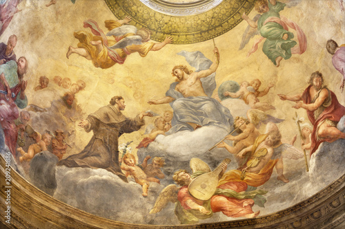 Foto Spatwand Jezus Christus PARMA, ITALY - APRIL 15, 2018: The fresco of Jesus with the St. Francis of Assisi in side cupola of church Chiesa di Santa Cristina by Filippo Maria Galletti (1636-1714).