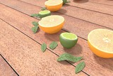 Limes and orange on wood table - n.03 - 3d Rendering