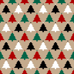 Seamless Pattern Brown Paper Christmas Trees Red/Green/Black/White