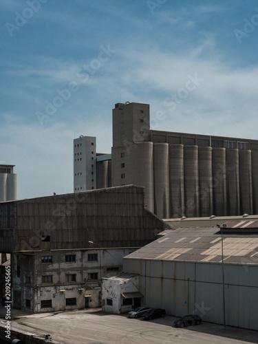 Fotobehang Barcelona Warehouses, docks, silos in Barcelona cargo port
