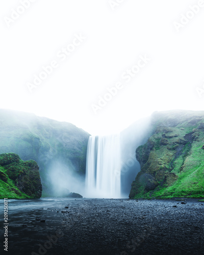 Famous Skogafoss waterfall on Skoga river. Iceland, Europe - 209250871