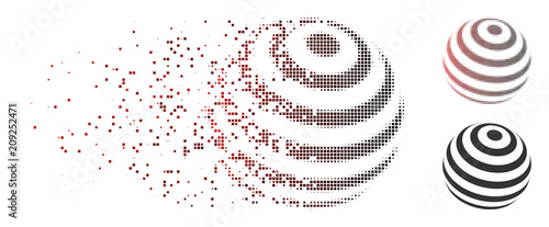 Vector striped abstract sphere icon in dispersed, pixelated halftone and undamaged entire versions. Disappearing effect uses square particles and horizontal gradient from red to black. - 209252471
