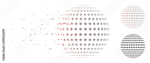 Vector abstract dotted sphere icon in fractured, pixelated halftone and undamaged solid variants. Disappearing effect involves square particles and horizontal gradient from red to black. - 209253609