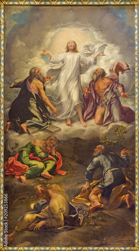 Foto Spatwand Jezus Christus PARMA, ITALY - APRIL 15, 2018: The painting of Transfiguration of the Lord on the main altar of church Chiesa di San Giovanni Evangelista by Girolamo Bedoli-Mazzola (1556).