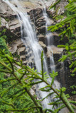 Waterfall in mountain forest with silky foaming water and wet stones - 209256491