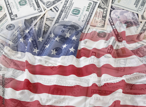 USA flag and cash