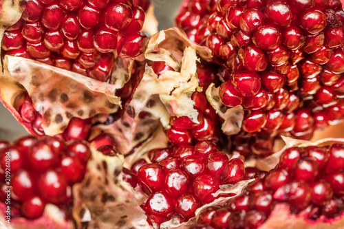 Ripe pomegranate. Macro with shallow depth of field.