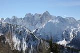 panorama of the snowy Italian Alps peaks in winter