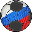 Russia flag with soccer ball background - Illustration,  Soccer football ball with Russian flag,  Abstract grunge mosaic vector