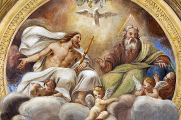 PARMA, ITALY - APRIL 16, 2018: The ceiling freso of The Holy Trinity in church Chiesa di Santa Croce by Giovanni Maria Conti della Camera (1614 - 1670).