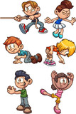 Cartoon kids performing different actions. Vector clip art illustration with simple gradients. Each on a separate layer.
