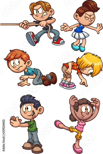 Cartoon kids performing different actions. Vector clip art illustration with simple gradients. Each on a separate layer.  - 209264612