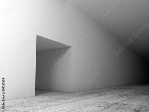 Leinwanddruck Bild Abstract white interior background, corridor with door
