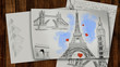 Illustration figure of the Eiffel tower with hearts on a sheet of paper . 3D rendering.