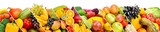 Collection fresh fruits and vegetables isolated on white background. Panoramic collage. Wide photo