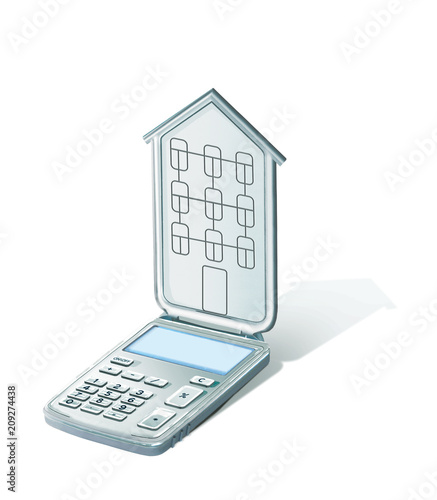 Calculator with a lid in the shape of a house with windows and a roof. Calculator of mortgage payments. 3d illustration. Isolated on white background. - 209274438