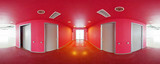 Spherical 360 degrees panorama projection, interior empty red room in modern flat apartments.