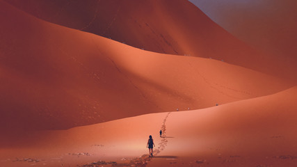 hikers climb up to the sand dune in the red desert, digital art style, illustration painting © grandfailure