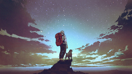 young hiker with backpack and a dog standing on the rock and looking at stars in the night sky, digital art style, illustration painting © grandfailure