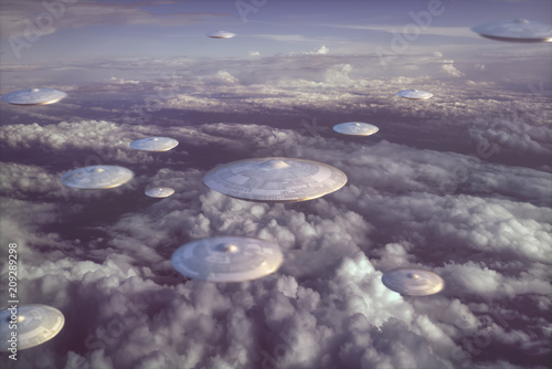 Plexiglas UFO Extraterrestrial UFO spacecraft. Invasion of alien spaceships. Sky filled with mother ships and small spacecraft.
