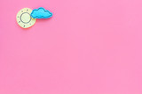 Clear and cloudly weather icons on pink background top view copy space - 209292449
