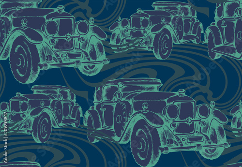 Fridge magnet Seamless pattern of vintage avto. Engraved style. Vector illustration