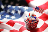 4th of July cupcake with flag and sprinkles - 209294866