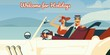 Welcome for holidays retro vector illustration of man and woman driving in vintage cabriolet car. Cartoon poster template with nature scenery for travel agency or vacations trip voyage