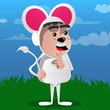 Boy dressed as mouse showing ok sign. Vector cartoon character illustration.