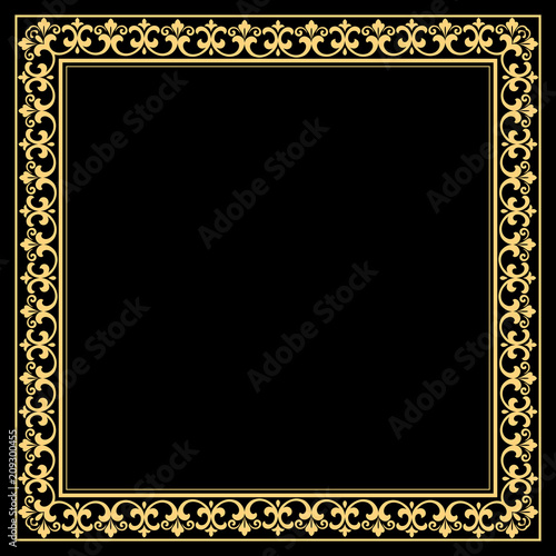 Decorative frame. Elegant vector element for design in Eastern style, place for text. Floral golden border. Lace illustration for invitations and greeting cards. - 209300455